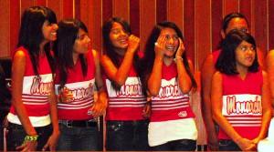 The Santa Ana Pop Warner Monarchs Pee Wee White Cheerleaders get honored