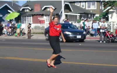 Loretta Sanchez runs at the Fiestas Patrias Parade