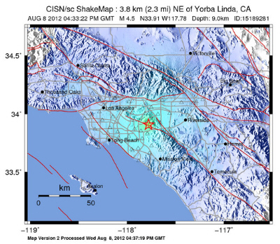 Earthquake In California Today Yorba Linda