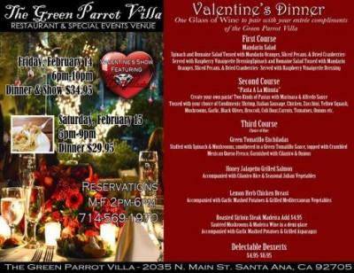 Green Parrot, Valentine's Dinner Menu