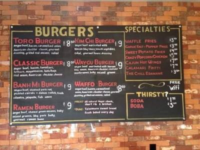 Toro burger menu