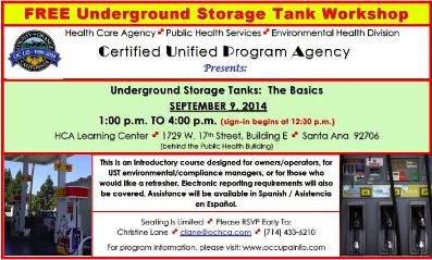 OC Health Care Agency Underground Storage Tank Workshop in Santa Ana