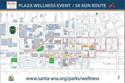 Santa Ana Plaza Wellness celebration and 5K run map