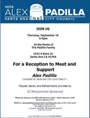 Reception for Alex Padilla