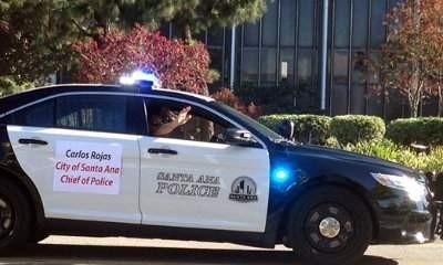 SAPD Police Chief Carlos Rojas rides in a parade