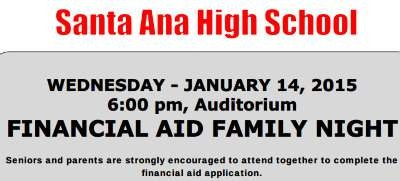 Financial Aid Family Night at Santa Ana High School