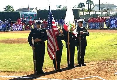 Santa Ana High Honor Guard at the NESALL Opening Day
