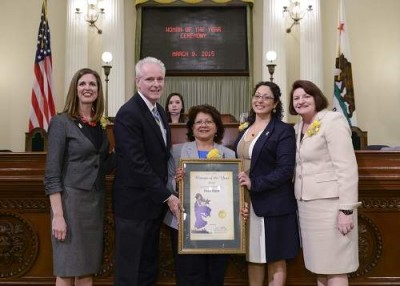 Assemblymember Tom Daly recognized Pearl Raya of Santa Ana