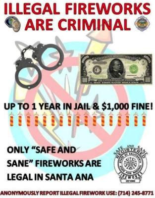 Santa Ana illegal fireworks flier