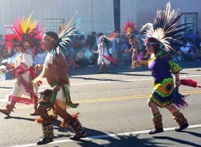 Native dancers at the Fiestas Patrias Parade