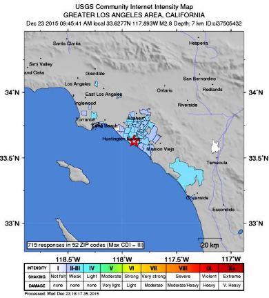 Dec. 23 Newport Beach Earthquake
