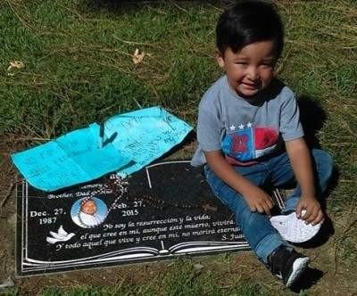 Ernesto Canepa's son at his grave