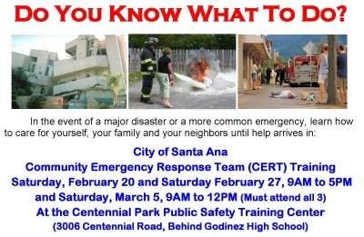 Santa Ana CERT training