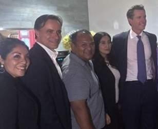 L-R, Beatriz Mendoza, Bruce Bauer, Sal Tinajero, Angie Amezcua and Lt. Gov. Gavin Newsom