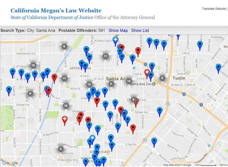 Megans Law Map New Santa Ana | There are currently 591 registered sex offenders