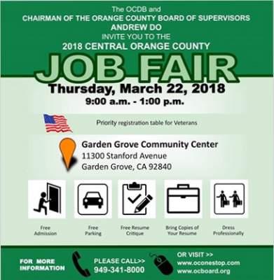 New Santa Ana | O.C. Job Fair set for March 22 in Garden Grove